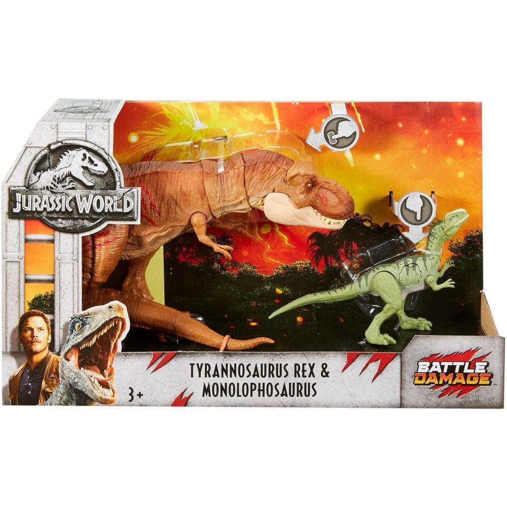 Jurassic World Battle Damage Tyrannosaurus Rex & Monolophosaurus
