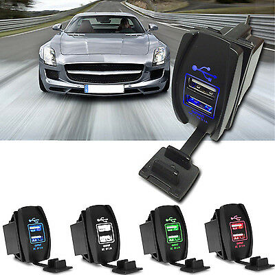 12V 24V 3.1A Motorcycle Car Boat LED Dual USB Power Charger Port Socket Plug LW