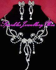 89 ** Bridal//wedding crystal//diamonte /& perlas de imitación Collar Set