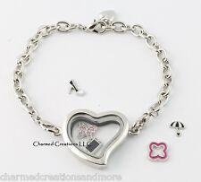 Plain Silver Tone Heart Floating Charm Living Memory Locket Bracelet