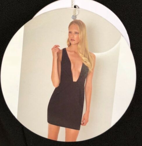 Finders Keepers The Creator Plunging Neckline Black Dress size S,L RRP£115......
