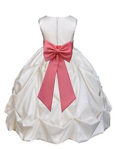 e9d73d3d5b5 Image is loading IVORY-TAFFETA-SATIN-DRESS-FLOWER-GIRL-BRIDESMAID-FORMAL-