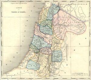 Israele Palestina Cartina.Carta Geografica Antica Palestina Tribu D Israele 1850 Old Antique Map Ebay