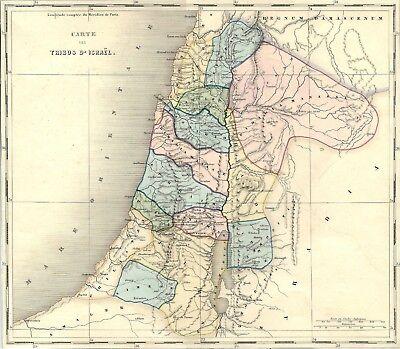 Cartina Stradale Israele.Carta Geografica Antica Palestina Tribu D Israele 1850 Old Antique Map Ebay