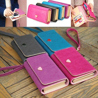 Pu Leather CellPhone Card Holder Coin Bag Long Purse Wallet Handbag Case