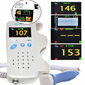 Certified Portable Fetal Doppler 3MHz Color LCD Back Light Heart Beat Waveform