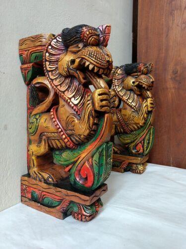 Wall Wooden Bracket Corbel Pair Temple Yalli Dragon Statue Sculpture Home Decor