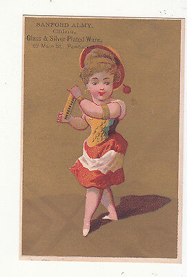 Lovely Sanford Almy Glass Silver Plated Ware Pawtucket Ri Dancing Vict Card C1880s To Enjoy High Reputation At Home And Abroad Victorian Trade Cards Collectibles
