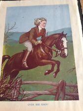 C7-2 Ephemera 1930s Book Plate Over She Goes Horse Riding