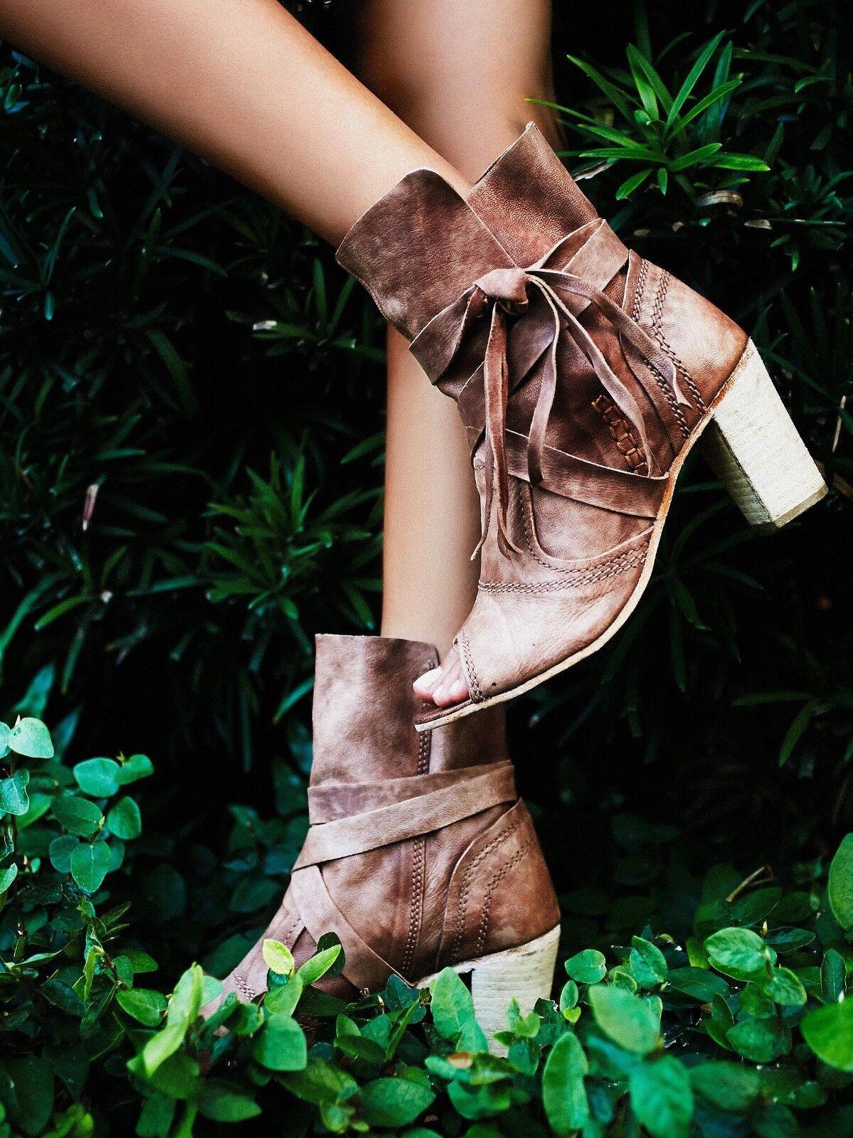Free People Daydreamer Heels Open Toe Braun Leder Ankle Wrap Stiefel Größe 39 NEU