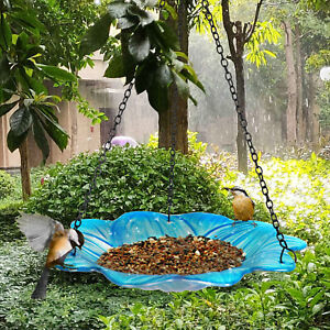 Liffy Hanging Bird Bath Outdoor Glass Bowl Feeder Blue for Garden Yard and Patio