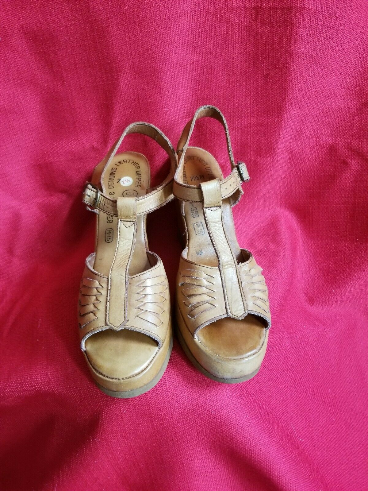 Vtg 1970s does 40s Leather Wedge Sandals Size 7.5… - image 4