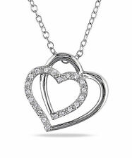 Sterling Silver 1/10 ct TDW Diamond Heart Pendant Necklace I-J I2-I3