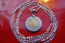"""MEXICAN Two Tone Eagle & Snake Coin Pendant on a 30"""" .925 Sterling Silver Chain"""