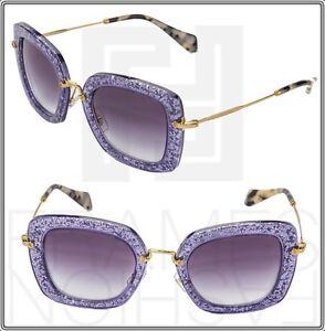 3c68cf50c299 MIU MIU NOIR Square Sunglasses MU 07OS Violet Gold Glitter Gradient ...