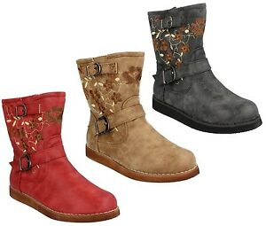 H4105 GIRLS SPOT ON ZIP UP ANKLE BOOTS SHOES BUCKLE STRAPS /& CUSHIONED LINING