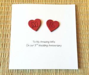 3rd Wedding Anniversary Card Personalised Leather Anniversary Husband Wife Ebay