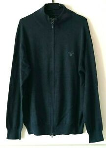 GANT-Herren-Strickjacke-Cardigan-Zipper-Premium-Cotton-Gr-2XL-XXL-blau-LRS1534
