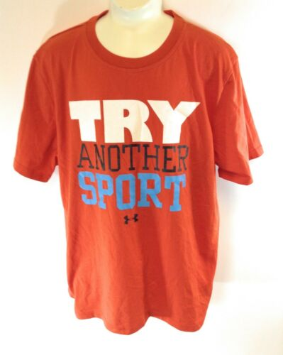 NEW Kids Youth Boys Under Armour UA heatgear Try Another Sport Orange Tee Shirt
