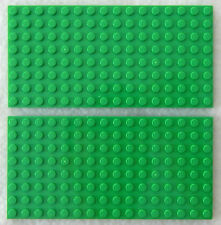 2 Bright Green Lego Plates 2.5x5 Inch 8x16 Dot/stud Roof Platform Base Board