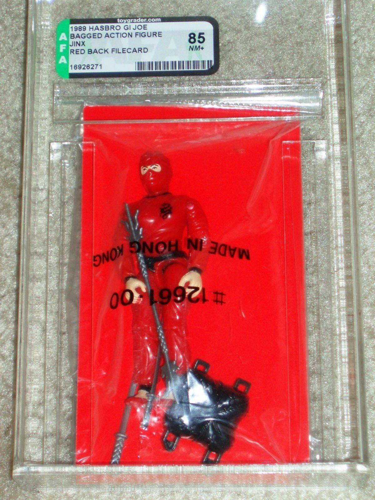 Vintage GI GI GI JOE 1989 AFA 85 JINX HASBRO Mailer Mail away Red File Card Bag ARAH 2898fe