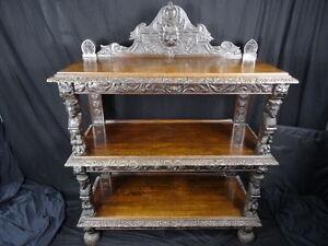 Magnificent-Gothic-Large-Antique-Carved-Black-Forest-Oak-3-Tier-Dumb-Waiter