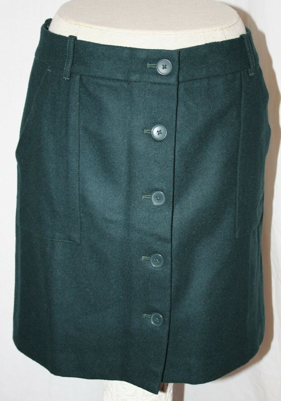 EDDIE BAUER WOOL MINI STRAIGHT PENCIL SKIRT GREEN BUTTON FRONT MERCER FIT 2  99
