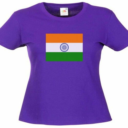 India Indian Flag Ladies Lady Fit T Shirt 13 Colours Size 6-16