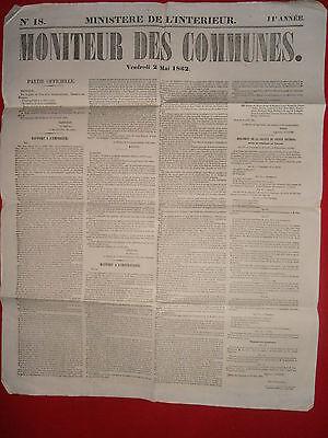 Journal Le Moniteur Des Communes Ministere De L'interieur N°18 - 2 Mai 1862