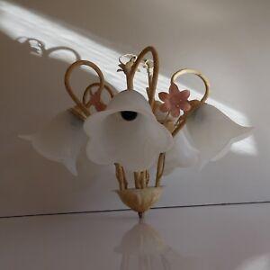 N2220-Eclairage-lustre-art-nouveau-metal-4-tulipes-verre-opalin-PN-France