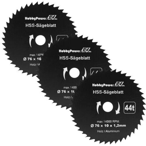 3 pièces HSS Cercle Scie 76 x 10 mm 44 dents Mini Lame de scie Handkreissäge NEUF