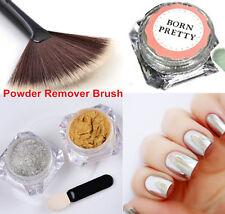 3pcs/set Mirror Nail Glitter Powder Manicure Dust Pigment Remover Brush Kit
