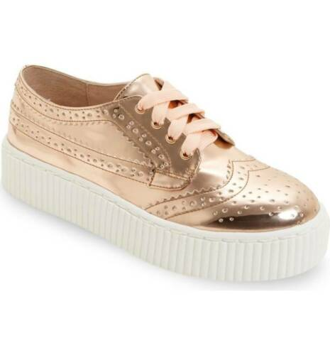 SHELLYS LONDON Dilys Rose Gold Leather Lace Up Wingtip Oxford Platform Sneaker