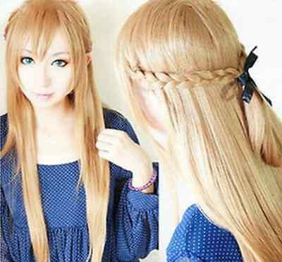 Sword Art Online Asuna Yuuki Braided Long Pale Gold Brown 80cm Cosplay Wig+Cap