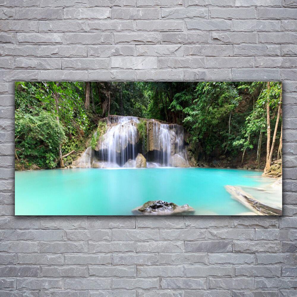 Glasbilder Wandbild Druck auf Glas 120x60 Wasserfall See Natur