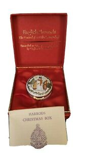 Harrods Christmas Box by Crummles 1987 Battersea Box 2 Girls Making a Snowman