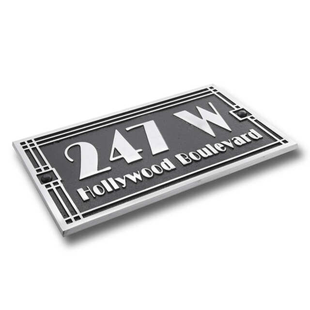 Art Deco Style House Number Address Plaque Solid Hand Made Aluminium