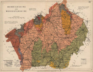 WARWICKSHIRE AND WORCESTERSHIRE Geological map. STANFORD 1913 old ...