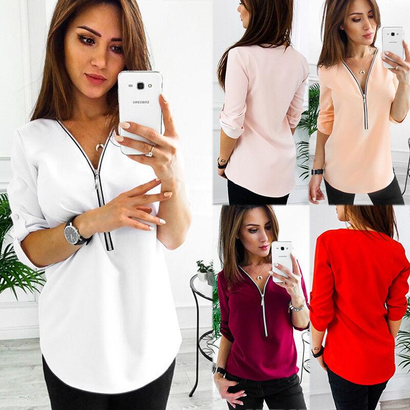 Damen Langarm Blusen T Shirt Blusehemd Zip V-Ausschnitt Freizeit Hemd Oberteile