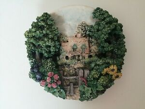 Lilliput-Lane-Cotman-Cottage-English-Garden-Thatched-Roof-Collectable-Plate-1995