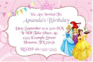 Details About Disney Princess Birthday Party Invitation Printable