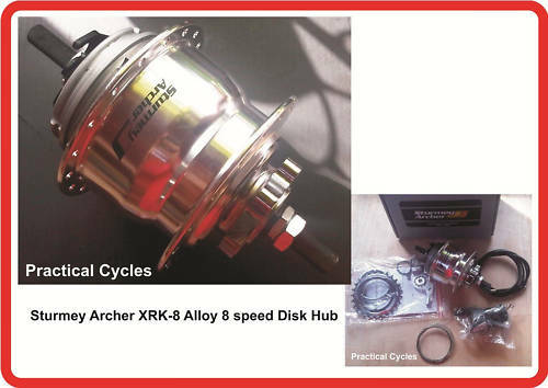 Sturmey Archer X-RK8 Alloy 8 Speed Hub Gear DISK BRAKE 135mm OLN