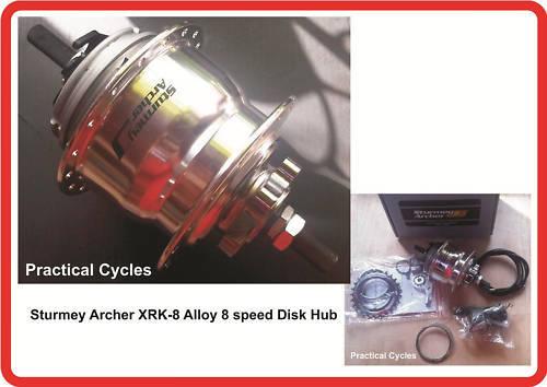 Sturmey Archer  X-RK8 Alloy 8 Speed Hub Gear DISK BRAKE 135mm OLN  no tax