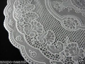 Pair Of Mid Century Plastic Lace Table Mats Doilies Round