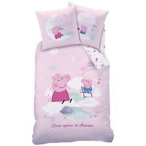 Peppa-Pig-Wutz-Flanell-Bettwaesche-Set-Dream-135-200-80-80-cm-Biber