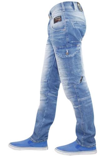 Mens Denim Jeans Straight Leg Designer Fashion Button Trouser Pants Rawcraft