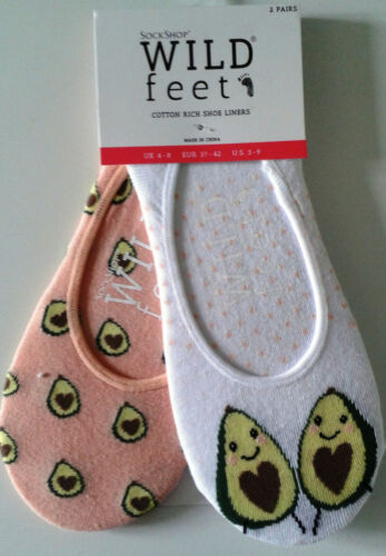 Two Pair Pack of Wild Feet Size 4-8 New Avacado Themed Liner Socks