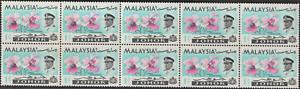 MALAYSIA JOHORE 1965 ORCHIDS 1c B/10 MNH.