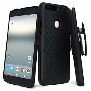 Google Pixel, Pixel XL Case, Slim Rugged Holster Combo Cover w/ Kickstand + Clip
