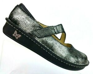 ALEGRIA-Onyx-Silver-Crackle-Leather-Mary-Jane-Shoes-JIL-752-Women-039-s-7-7-5-EUR-37